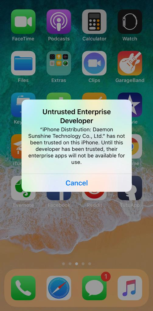 Untrusted Enterprise Developer TutuAPP
