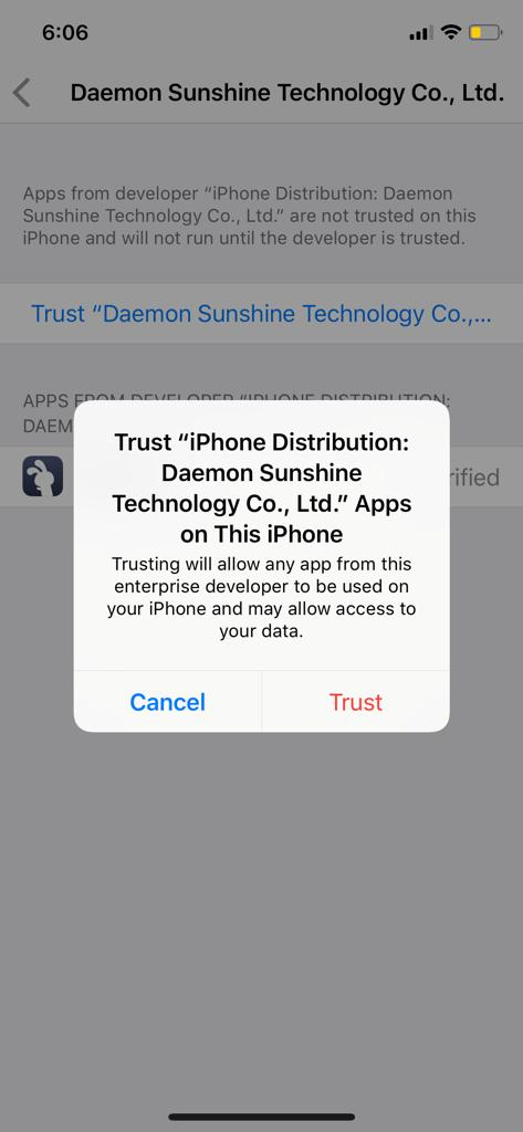 Click on Trust to fix the TuTuApp Error