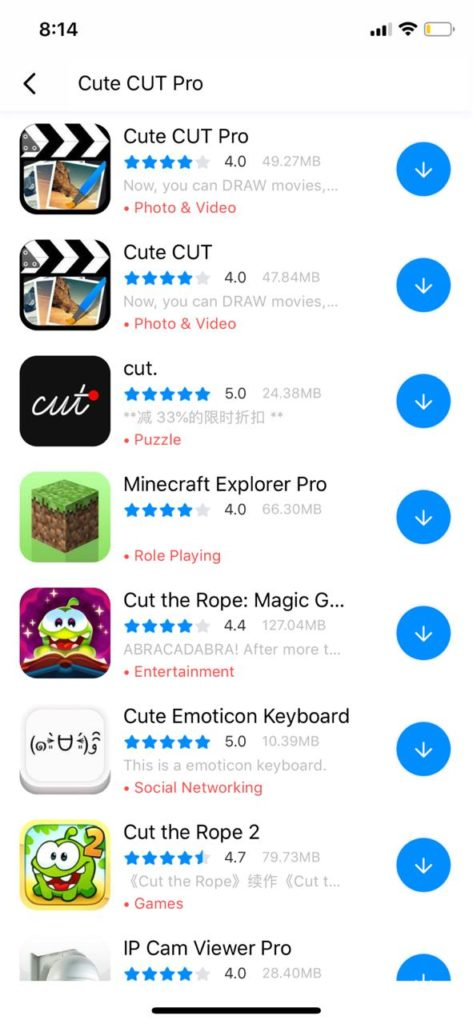 Download Cute Cut Pro using TuTuApp
