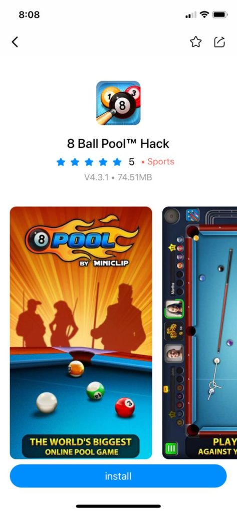 Install 8 ball pool Hack iOS using TuTuAPP