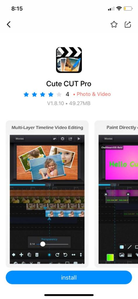 Install cute cut pro on iOS