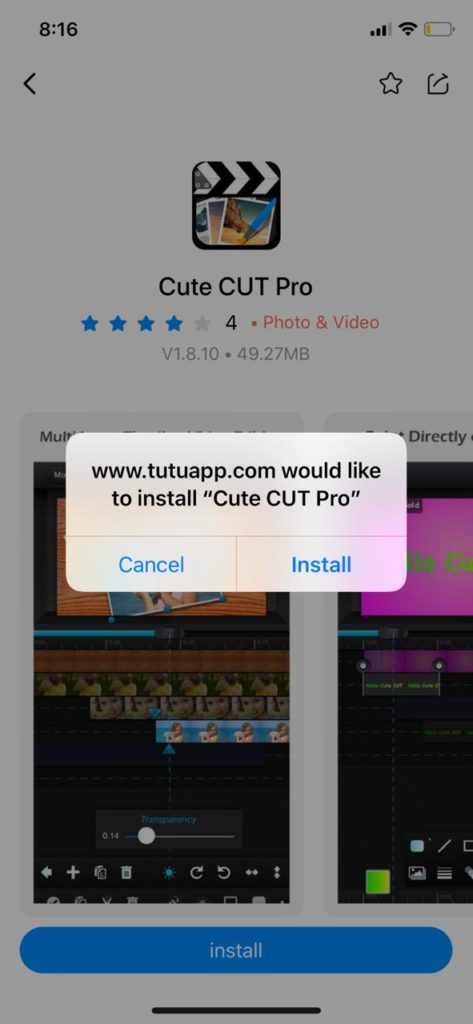 Latest cute cut pro on iOS TuTuApp