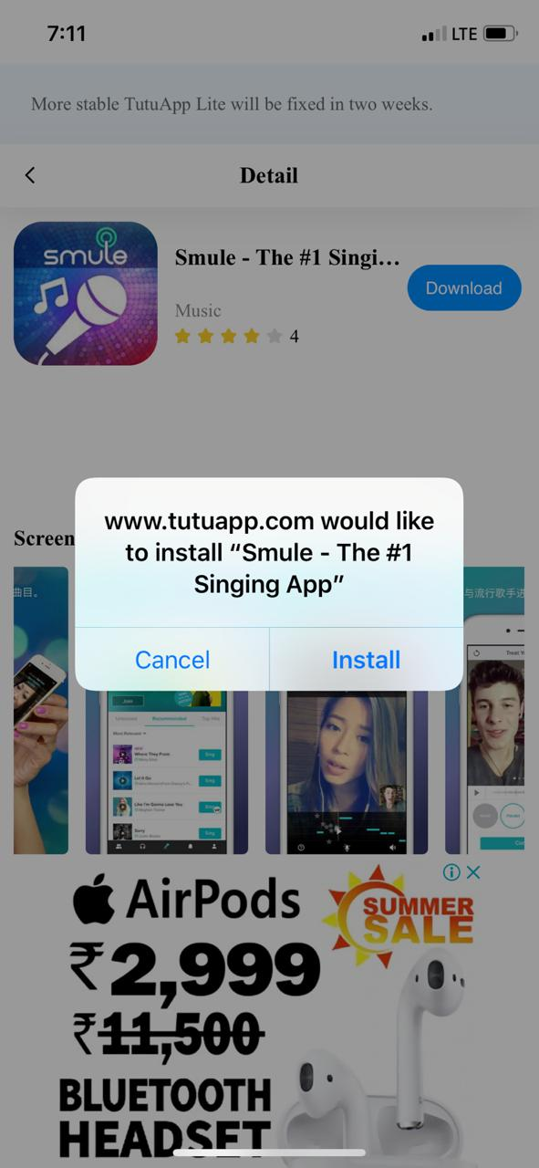 Smule VIP on iOS using TuTuApp