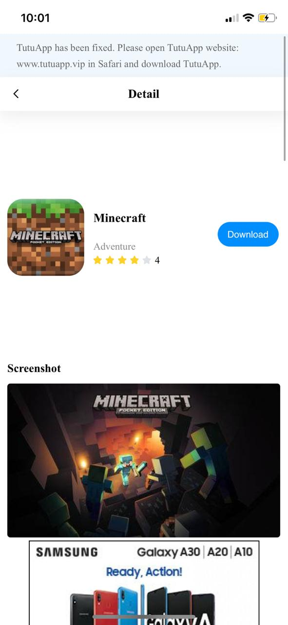 MineCraft PE TuTuApp on iOS