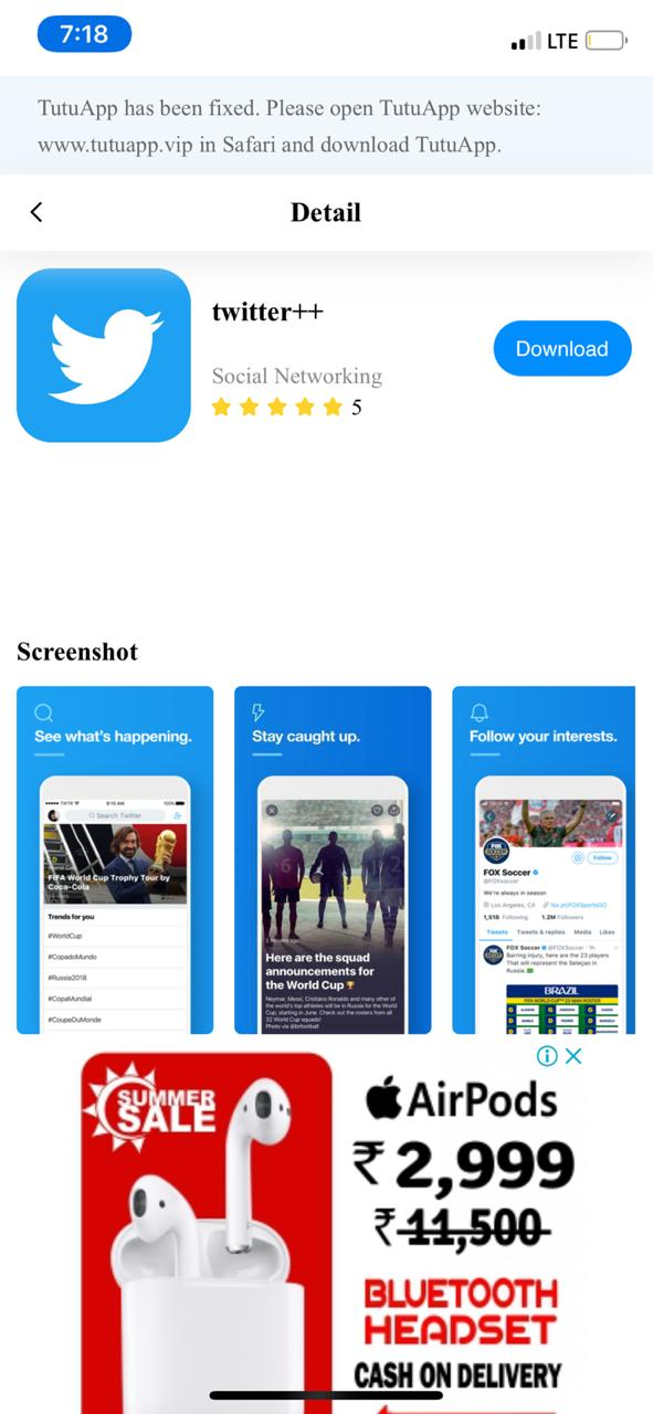 Install Twitter++ App on iOS - TuTuApp