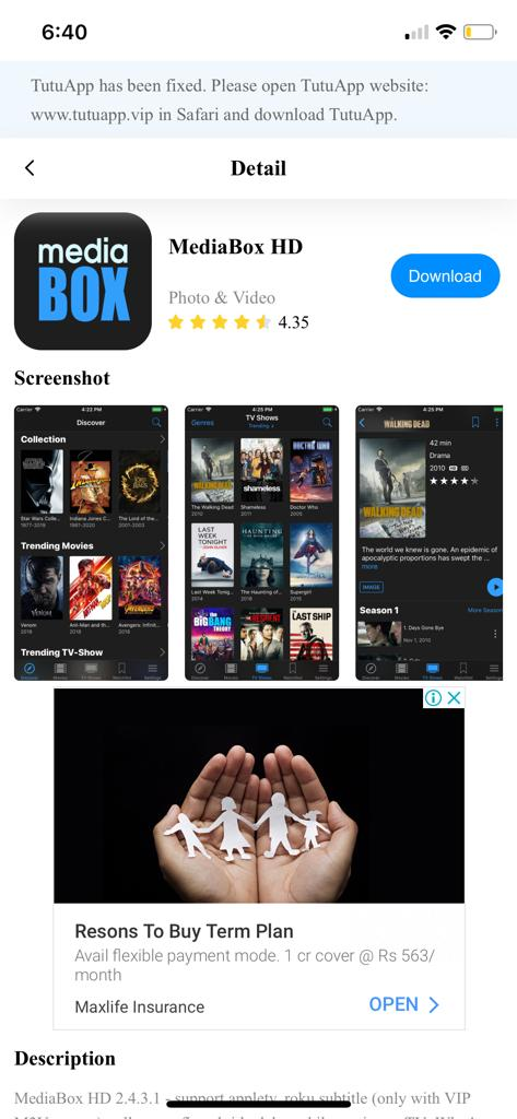 Get MediaBox HD App with TuTuAPP