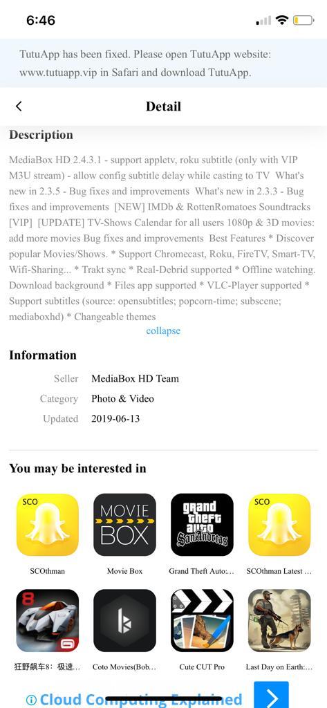 MediaBox HD App Detailes - TuTuApp