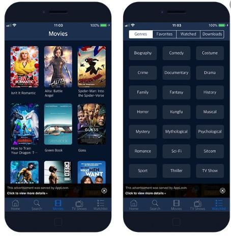 ZiniTevi App UI on iOS - TuTuApp