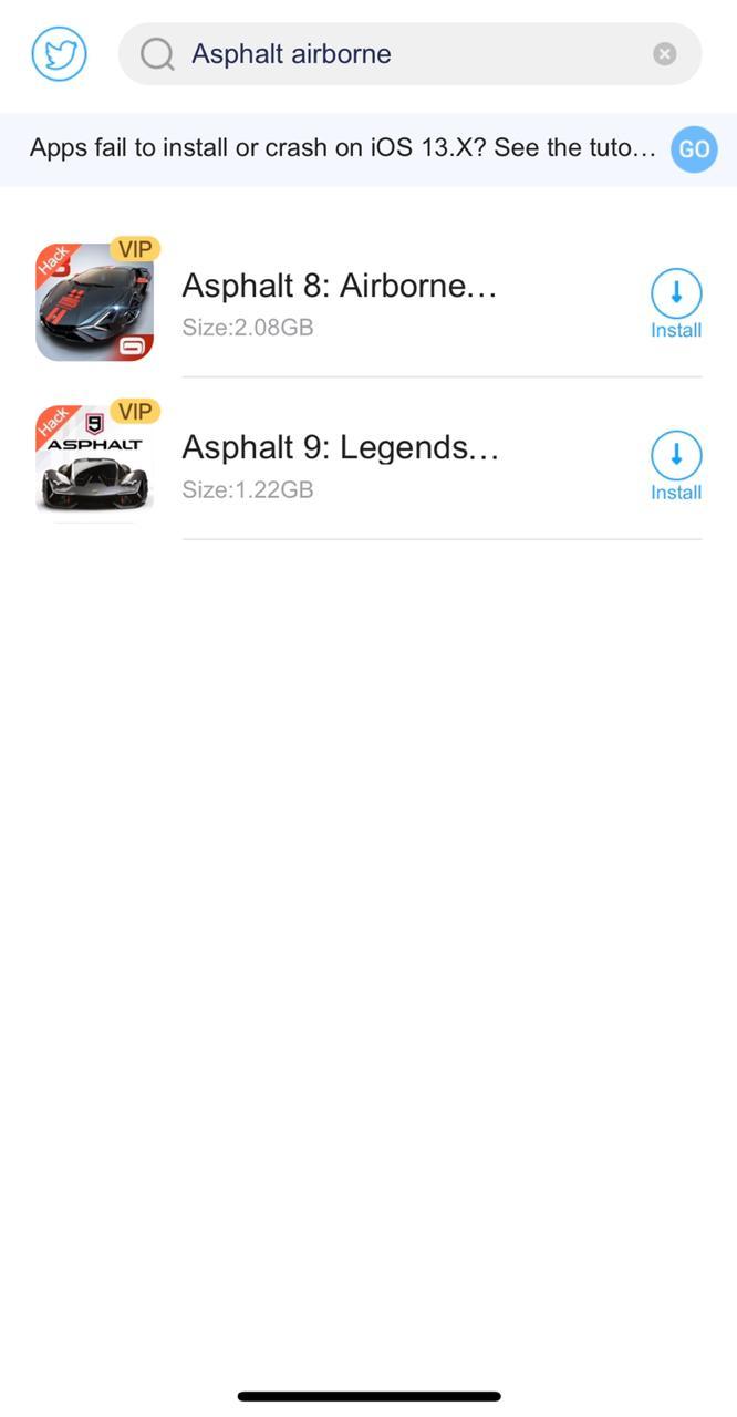 search asphalt airborne hack on iOS
