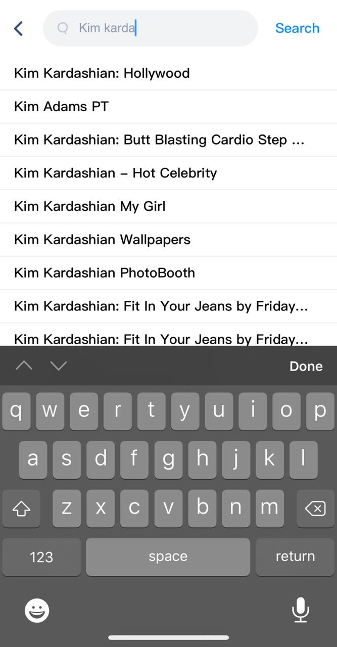 Search 'Kim Kardashian Hack Game' on iOS