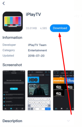Hit 'Download' iPlayTV App