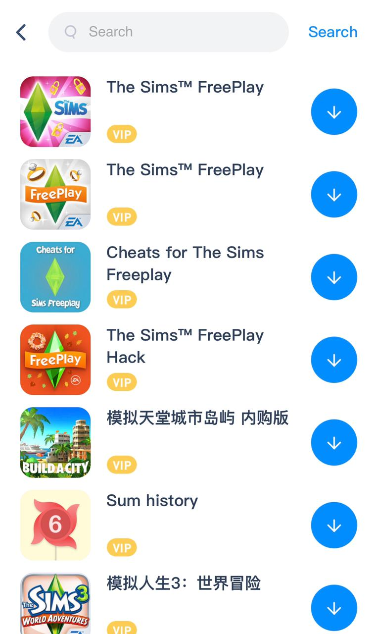 sims freeplay search results