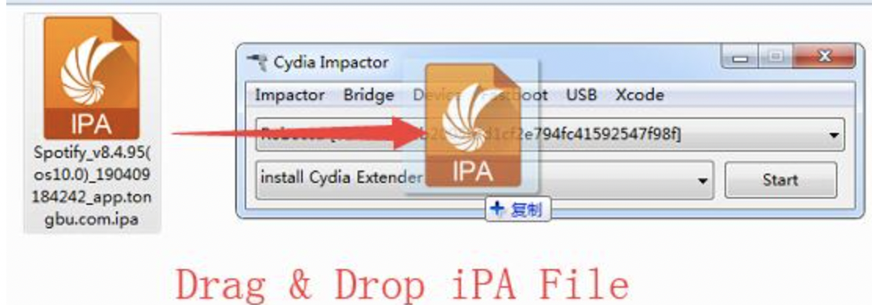 Drag and Drop Spotify++ IPA File to Cydia Impactor